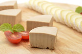 Detail of table with pate and tomato — Stock Photo