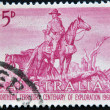 Stock Photo: AUSTRALI- CIRC1960: stamp printed in Australishows Overlanders by Sir Daryl Lindsay, Centenary of Exploration of Australias Northern Territory, circ1960
