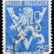BELGIUM - CIRCA 1946: A stamp printed in Belgium shows The coat of arms of the Kingdom of Belgium bears a lion or Leo Belgium, circa 1946 — Stock Photo