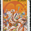 BRAZIL - CIRCA 1991: A stamp printed in Brazil shows samba school in Rio de Janeiro, circa 1991 — Stock Photo #41424781