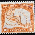 EL SALVADOR - CIRCA 1924: A stamp printed in El Salvador shows Map of Central America showing the location of El Salvador, circa 1924 — Stock Photo