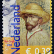HOLLAND - CIRCA 2003: A stamp printed in the Netherlands dedicated to the 150th anniversary of Vincent Van Gogh, shows a self-portrait in a straw hat, circa 2003 — Stock Photo #41424919