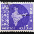 INDIA - CIRCA 1957: A stamp printed in India shows Map of India, circa 1957 — Stock Photo