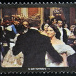 Stock Photo: SAN MARINO - CIRC1995: stamp printed in SMarino shows scene from movie Leopard, circ1995