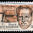 UNITED STATES OF AMERIC- CIRC1983: stamp printed in USshows first television camerand portrait of Philo T. Farnsworth (1906-1971) was inventor and television pioneer,  circ1983 — Stock Photo #41425443