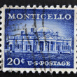 UNITED STATES OF AMERICA - CIRCA 1956: stamp printed in USA, shows Monticello - the primary plantation of Thomas Jefferson, the third President of the United States, circa 1956 — Stock Photo