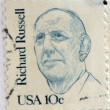 Stock Photo: UNITED STATES OF AMERIC- CIRC1984: stamp printed in USshows Senator Richard Brevard Russell, circ1984