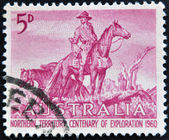 AUSTRALIA - CIRCA 1960: a stamp printed in Australia shows The Overlanders by Sir Daryl Lindsay, Centenary of Exploration of Australias Northern Territory, circa 1960 — Stock Photo