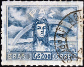 BRAZIL - CIRCA 1945: A stamp printed in Brazil dedicated to to the Allied victory in World War II shows allegory of the peace, circa 1945 — Stock Photo