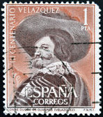 SPAIN - CIRCA 1961: A stamp printed in Spain shows Portrait of the Count-Duke of Olivares by Velazquez, circa 1961 — Stock Photo