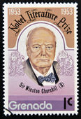 GRENADA - CIRCA 1953: A stamp printed in Grenada shows Sir Winston Churchill, nobel literature prize, circa 1953 — Stock Photo