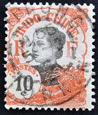 INDOCHINA - CIRCA 1907: A stamp printed in Indochina shows Annamite girl, circa 1907. — Stockfoto