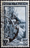 ITALY - CIRCA 1950: a stamp printed in Italy shows Girl Worker in Hemp Field, Emilia Romagna, circa 1950 — Stok fotoğraf