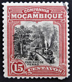 MOZAMBIQUE - CIRCA 1918: A stamp printed in Mozambique shows a Steam Train, circa 1918 — Stock Photo