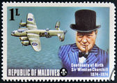 MALDIVES - CIRCA 1974: A stamp printed in Maldives dedicated to centenary of birth Sir Winston Churchill, circa 1974 — Stock Photo