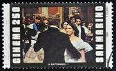 San marino - por volta de 1995: um selo imprimido em san marino mostra a cena do filme o leopardo, circa 1995 — Fotografia Stock