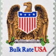 UNITED STATES OF AMERICA - CIRCA 1991: A stamp printed in USA shows eagle and shield, bulk rate, circa 1991 — Stock Photo