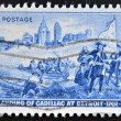 UNITED STATES OF AMERICA - CIRCA 1951: a stamp printed in USA shows Detroit Skyline and Cadillac Landing, circa 1951 — Stock Photo