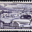 UNITED STATES OF AMERICA - CIRCA 1953: A Stamp printed in USA shows the Truck, Farm and Distant City, Trucking Industry 50th anniversary, circa 1953 — Stock Photo #42663043