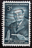 UNITED STATES OF AMERICA - CIRCA 1956:  stamp printed in USA shows a portrait of Harvey Washington Wiley, circa 1956 — Stock Photo