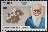 CUBA - CIRCA 1996: a stamp printed in Cuba shows an image of Charles Darwin, circa 1996. — Stock Photo