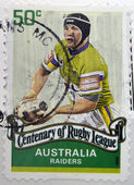 AUSTRALIA - CIRCA 2008: A stamp printed in australia dedicated to centenary of rugby league, shows raiders, circa 2008 — Stock Photo