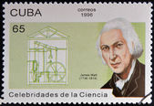 CUBA - CIRCA 1996: a  stamp printed in Cuba shows an image of James Watt, circa 1996. — Stock Photo