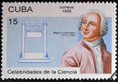 CUBA - CIRCA 1996: a  stamp printed in Cuba shows Mikhail Vasilyevich Lomonosov, discoverer of the Venus atmosphere, circa 1996 — Stock Photo
