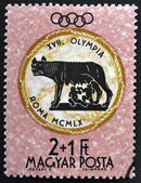 HUNGARY - CIRCA 1960: A stamp printed in Hungary shows Capitoline Wolf, devoted to the Olympic games in Rome, circa 1960 — Stock Photo