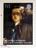 UNITED KINGDOM - CIRCA 2006: A stamp printed in Great Britain dedicated to the national portrait gallery, shows Sir Joshua Reynolds by Sir Joshua Reynolds, circa 2006 — Stock Photo