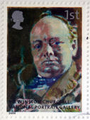 UNITED KINGDOM - CIRCA 2006: A stamp printed in Great Britain dedicated to the national portrait gallery, shows Portrait of Winston Churchill by Walter Richard Sickert, circa 2006 — Stock Photo