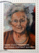 UNITED KINGDOM - CIRCA 2006: A stamp printed in Great Britain dedicated to the national portrait gallery, shows Dame Cicely Saunders by Catherine Goodman, circa 2006 — Stock Photo