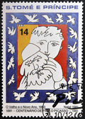 SAO TOME AND PRINCIPE - CIRCA 1981: A stamp printed in sao Tome shows the old and the new year by Pablo Picasso, circa 1981 — Stock Photo