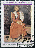 SAO TOME AND PRINCIPE - CIRCA 1981: A stamp printed in sao Tome shows The barefoot girl by Pablo Picasso, circa 1981 — Stock Photo