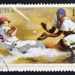 Постер, плакат: CUBA CIRCA 1969: a stamp printed in Cuba shows the World championship on baseball circa 1969