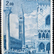 MONACO - CIRCA 1972: A stamp printed in Monaco shows view of St Mark's Square (Piazza San Marco) in Venice by painter Bernardo Bellotto, circa 1972 — Stock Photo #44907063