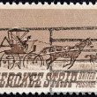 Постер, плакат: UNITED STATES OF AMERICA CIRCA 1968: a stamp printed in USA shows Homesteaders Racing to Cherokee Strip 75th Anniversary of the Opening of the Cherokee Strip circa 1968