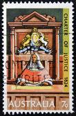 AUSTRALIA - CIRCA 1973: stamp printed in Australia shows Supreme Court Judge on Bench, circa 1973 — Stock Photo