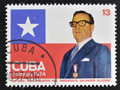 CUBA - CIRCA 1974: A stamp printed in Cuba shows Salvador Allende, circa 1974 — Stock Photo