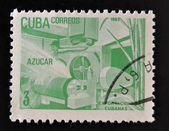 CUBA - CIRCA 1982: a stamp printed in Cuba dedicated to Cuban export products shows sugar, circa 1982 — Foto de Stock