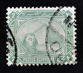 EGYPT - CIRCA 1888: A stamp printed in Egypt, showing the Great Sphinx and pyramid of Giza, circa 1888 — Stock Photo
