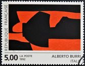 FRANCE - CIRCA 1992: A stamp printed in France shows a work by Alberto Burri, circa 1992 — ストック写真