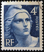 FRANCE - CIRCA 1945: A stamp printed in France shows Marianne, circa 1945. — Stock Photo