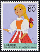 JAPAN - CIRCA 1995: A stamp printed in Japan dedicated to  Tokyo Marionette, shows a young puppet, circa 1995 — Stock Photo