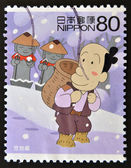 JAPAN - CIRCA 2005: A stamp printed in Japan shows Jizo shadow, circa 2005 — Stock Photo