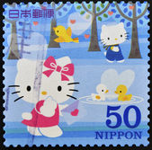 JAPAN - CIRCA 2000: A stamp printed in Japan shows Hello Kitty and Dear Daniel, circa 2000 — Stok fotoğraf