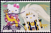 JAPAN - CIRCA 2011: A stamp printed in Japan shows Hello Kitty and Dear Daniel, circa 2011 — Stok fotoğraf