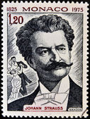 MONACO - CIRCA 1975: A  stamp printed in Monaco shows image portrait of famous Austrian music composer Johann Strauss, circa 1975. — Stock Photo