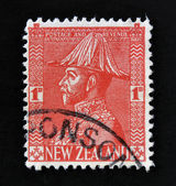 NEW ZEALAND - CIRCA 1953: A stamp printed in New Zealand shows George V in Field Marshals Uniform, circa 1953. — Stock Photo