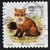 SWEDEN - CIRCA 2005: stamp printed in Sweden shows Fox, circa 2005 — Foto de Stock